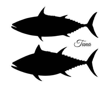 Silhouette of tuna. Hand drawn vector illustration of fish isolated on white background. Çizim