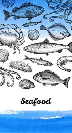 Modèle de conception de menu de fruits de mer. Croquis à l'encre de poissons, crustacés et mollusques. Illustration vectorielle dessinés à la main. Fond d'aquarelle. Style rétro.
