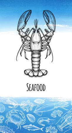 Seafood menu design template. Ink sketch of lobster. Crustaceans and molluscs. Hand drawn vector illustration.  background. Retro style. Foto de archivo - 108893501