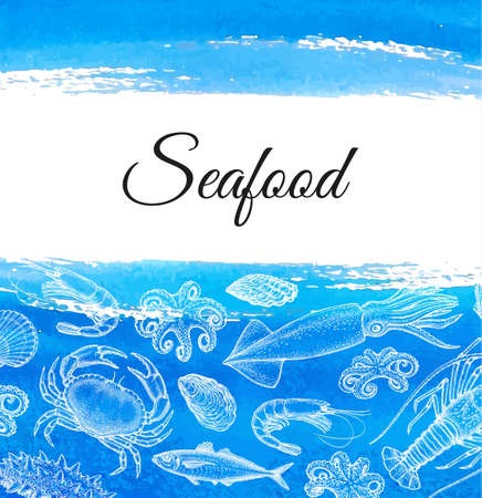Seafood menu design template. Ink sketch of sea and ocean life. Crustaceans and molluscs. Hand drawn vector illustration. background. Retro style.