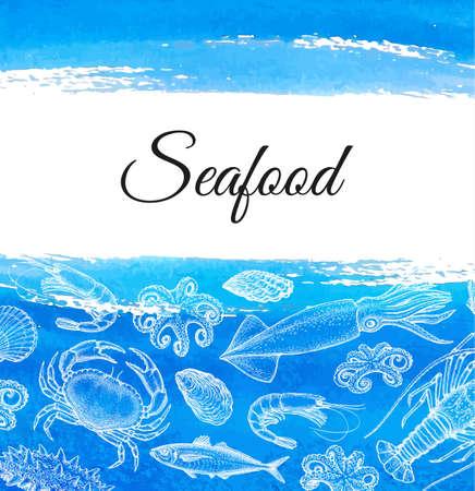 Zeevruchten menu ontwerpsjabloon. Ink schets van het leven op zee en in de oceaan. Schaaldieren en weekdieren. Hand getekende vector illustratie. achtergrond. Retro stijl. Vector Illustratie