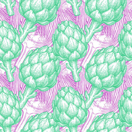 Seamless pattern with artichoke. Hand drawn vector illustration. Retro style. Reklamní fotografie - 109718971