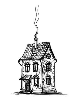 Vecchia casa in pietra. Schizzo di inchiostro. Isolato su sfondo bianco. Stile retrò. Vettoriali
