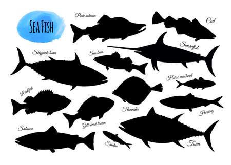 Siluetas de peces. Gran conjunto aislado sobre fondo blanco. Ilustración de vector dibujado a mano