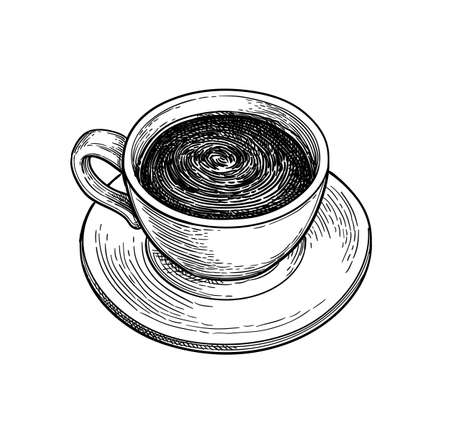 Ð¡up of hot chocolate or coffee. Vector Illustration