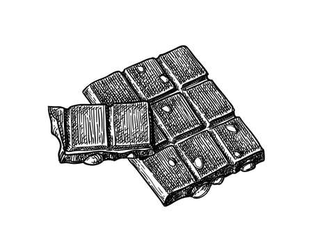 Bar of milk chocolate with hazelnuts. Illustration