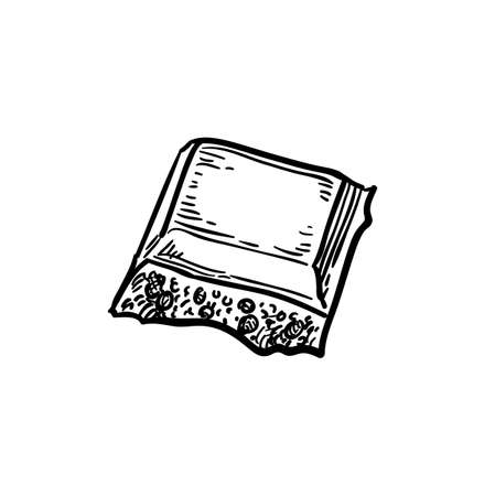 Piece of porous white chocolate. Иллюстрация