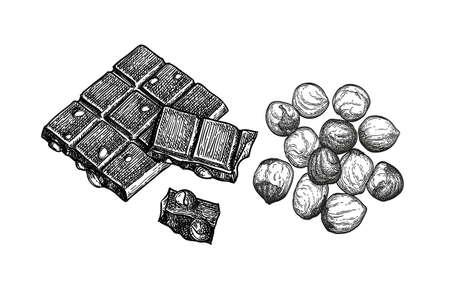 Bar of milk chocolate with hazelnuts. Ilustração