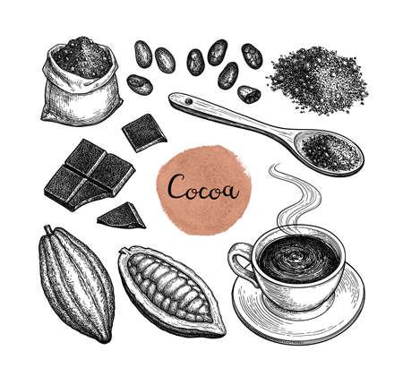 Kakao- und Schokoladenset. Tintenskizze lokalisiert auf weißem Hintergrund. Handgezeichnete Vektor-Illustration. Retro-Stil.