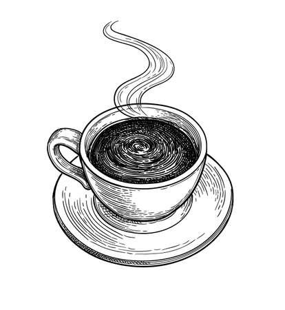 Taza de chocolate caliente o café. Ilustración de vector