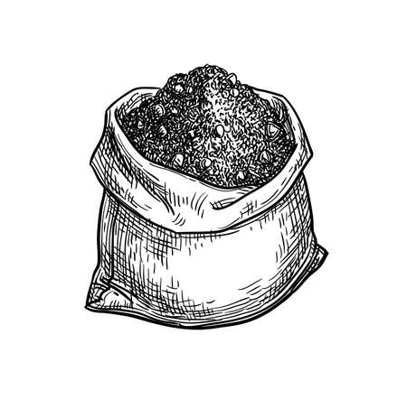 Bag of cocoa powder. Hand drawn vector illustration. Ink sketch isolated on white background. Vintage style. Foto de archivo - 124781222