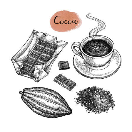Cocoa and chocolate set. Ink sketch isolated on white background. Hand drawn vector illustration. Retro style. Archivio Fotografico - 124781225