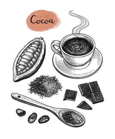 Cocoa and chocolate set. 写真素材 - 124889366