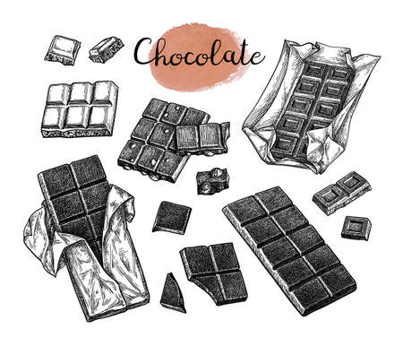 Chocolate set. Ink sketch isolated on white background. Hand drawn vector illustration. Retro style.