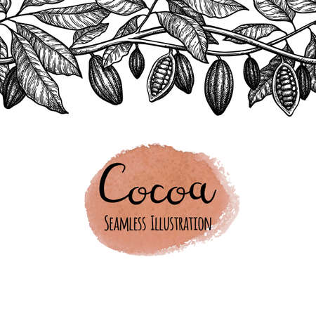 Seamless illustration of cocoa. Reklamní fotografie - 124889410