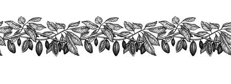 Seamless illustration of cocoa. Branches and pods. Ink sketch isolated on white background. Hand drawn vector illustration. Retro style. 写真素材 - 124632346