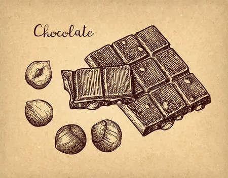 Croquis à l'encre de chocolat.