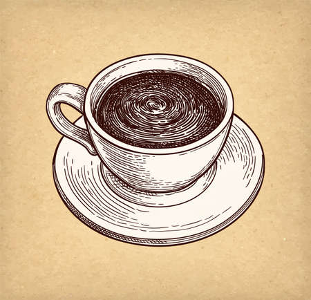 Cup of hot chocolate or coffee. Ink sketch on old paper background. Hand drawn vector illustration. Retro style.