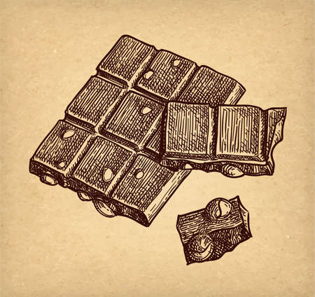 Bar of milk chocolate with hazelnuts. Ink sketch on old paper background. Hand drawn vector illustration. Retro style.