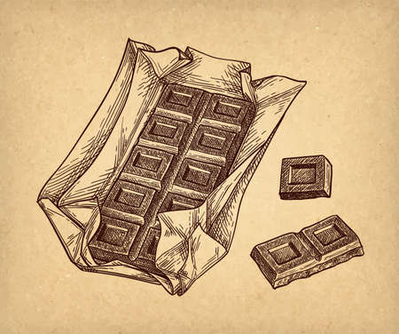 Bar of milk chocolate. Ink sketch on old paper background. Hand drawn vector illustration. Retro style.