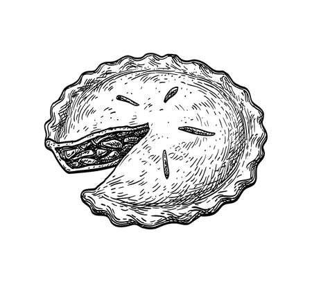 Ink sketch of apple pie