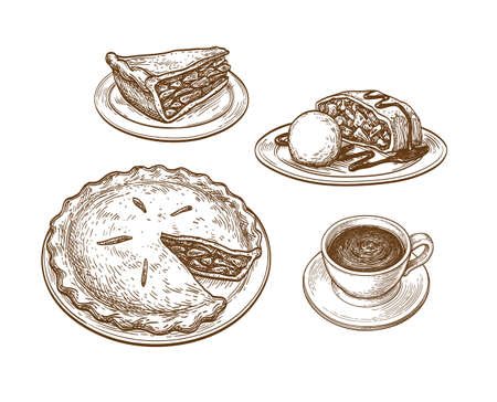 Ink sketch of apple pie Standard-Bild - 131564678