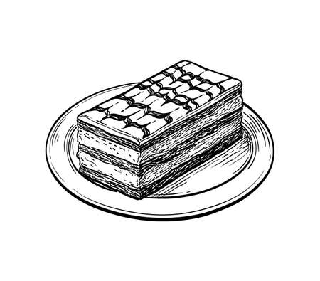 Ink sketch of mille-feuille dessert.
