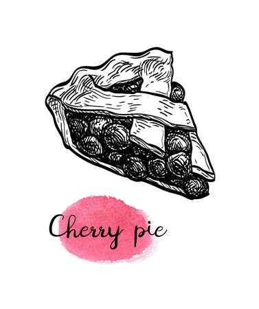 Ink sketch of cherry pie. Ilustracja