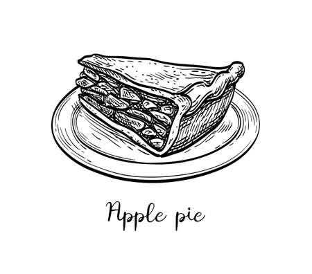 Ink sketch of apple pie Фото со стока - 131563939