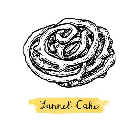Ink sketch of funnel cake.