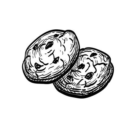 Ink sketch of chocolate chip cookie Ilustração