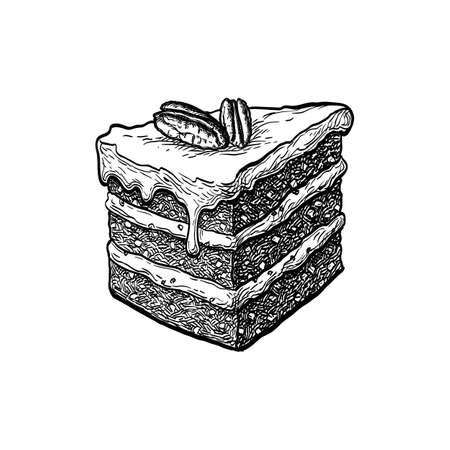 Ink sketch of carrot cake Stock Illustratie