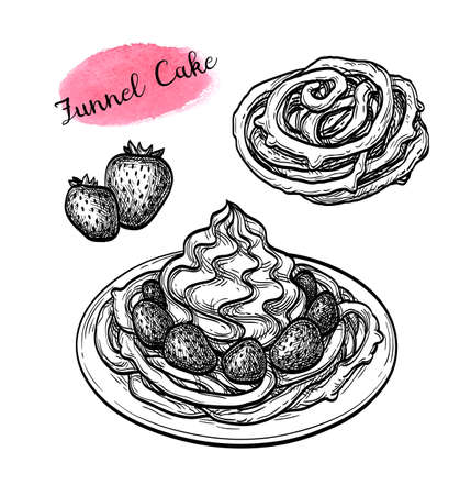 Funnel cake with strawberries and whipped cream. Ink sketch isolated on white background. Hand drawn vector illustration. Retro style. Illustration