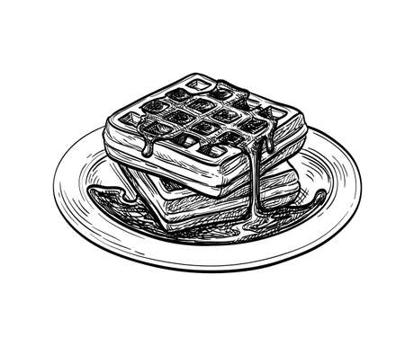 Ink sketch of waffle with syrup topping. Ink sketch isolated on white background. Hand drawn vector illustration. Retro style.