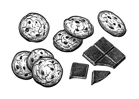 Ink sketch of chocolate chip cookie Illustration