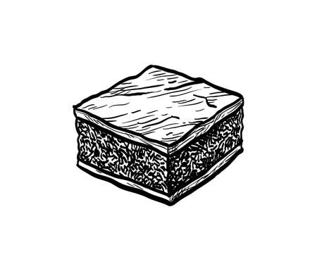Chocolate brownie. Ink sketch isolated on white background. Hand drawn vector illustration. Retro style. Illustration