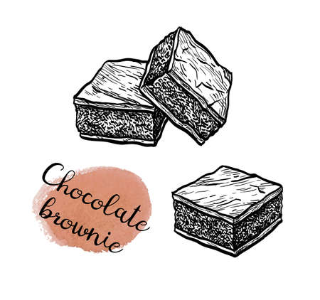 Ink sketch of chocolate brownie.  イラスト・ベクター素材