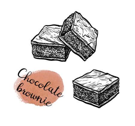 Ink sketch of chocolate brownie. Illustration