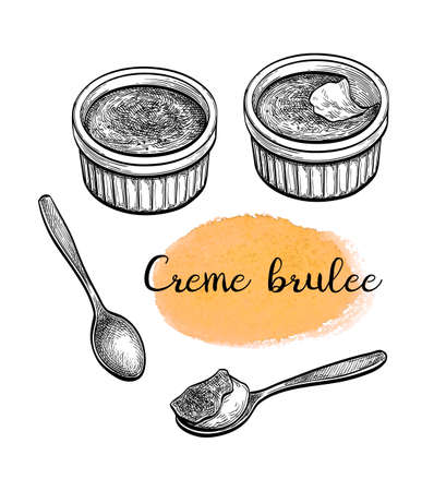 Creme brulee. Ink sketch isolated on white background. Hand drawn vector illustration. Retro style.