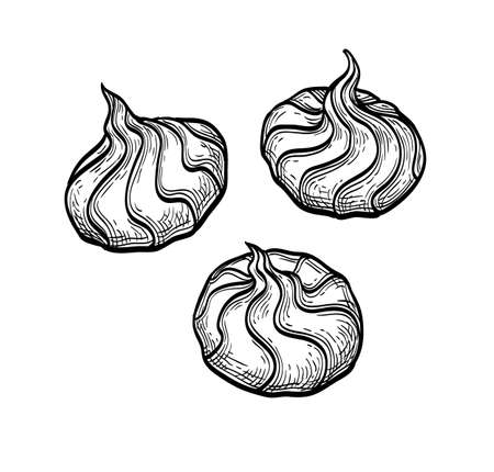 Ink sketch of meringue cookies Stock Illustratie
