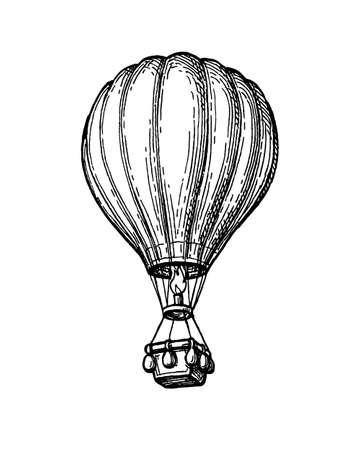 Ink sketch of hot air balloon. 向量圖像
