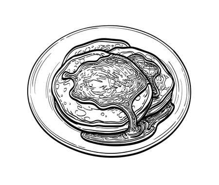 Ink sketch of pancakes Imagens - 131566474