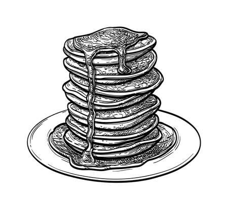 Ink sketch of pancakes. Imagens - 131564020