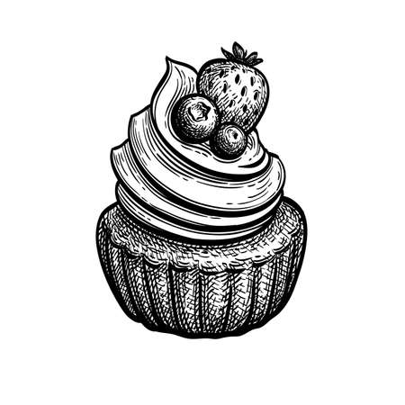 Ink sketch of rum baba.