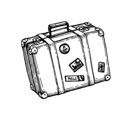 Ink sketch of suitcase.