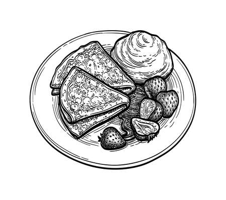 Ink sketch of blini with sour cream