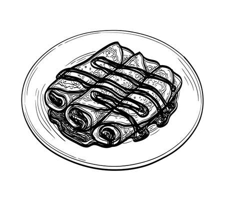 Ink sketch of crepes with chocolate cream filling 向量圖像