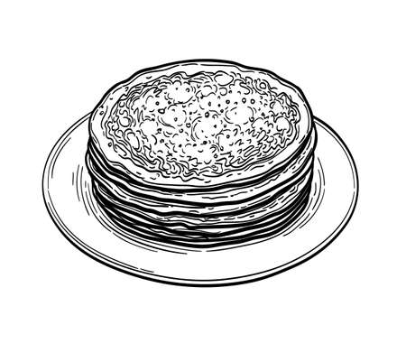 Ink sketch of crepes