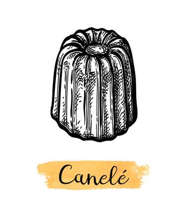 Ink sketch of canele. Illusztráció