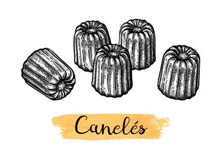Canele. French pastry. Ink sketch isolated on white background. Hand drawn vector illustration. Retro style.